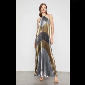 NWT BCBGMAXAZRIA Size S Metallic Color-Block Gown